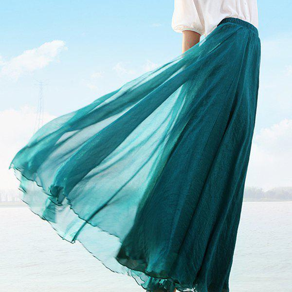 Online Chic Elastic Waist Pure Color Chiffon Women's Maxi Skirt