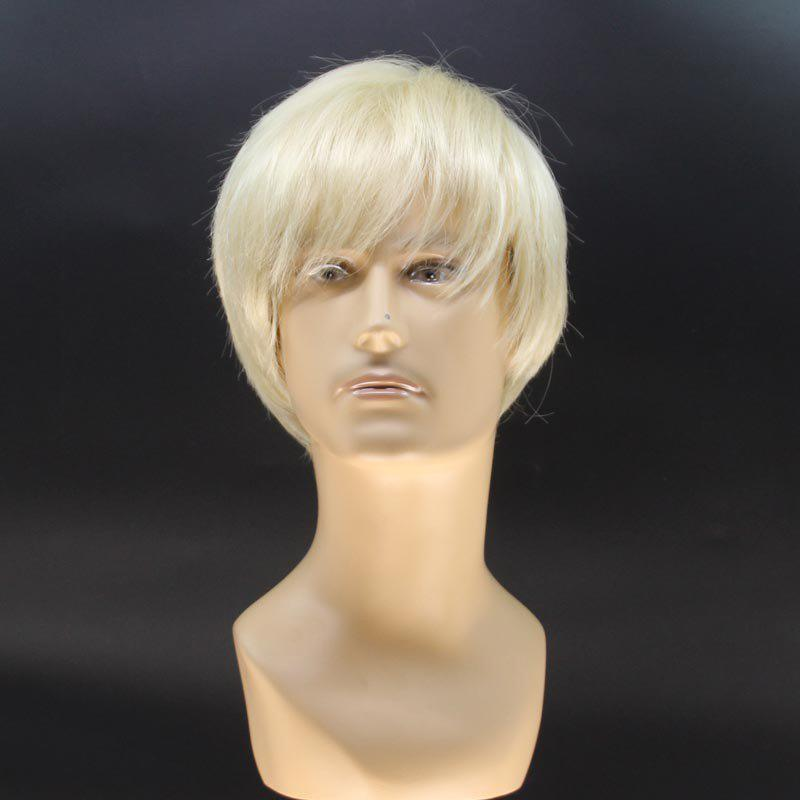Outfits Stylish Short Straight Handsome Light Blonde Heat Resistant Fiber Wig For Men