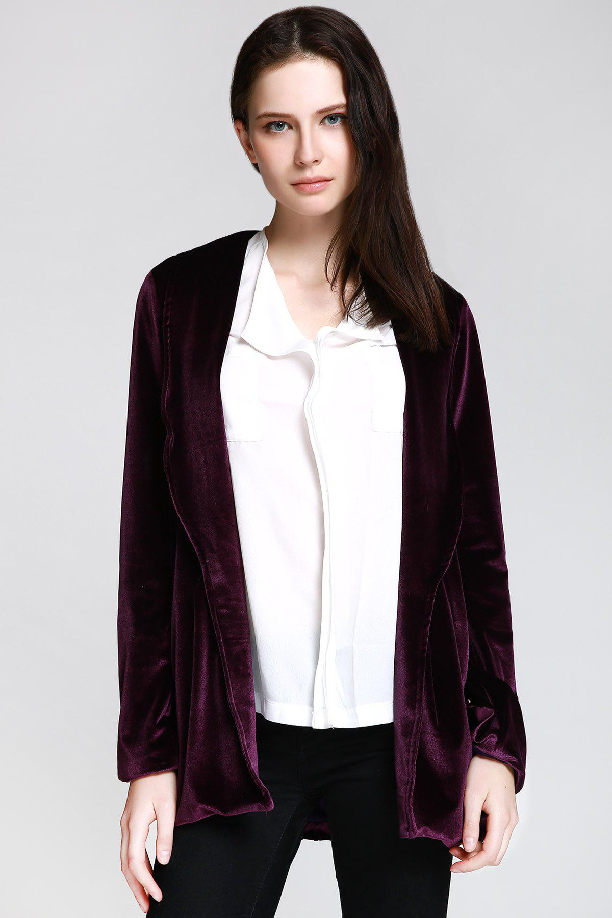 Affordable Stylish Shawl Collar Long Sleeve Deep Purple Women's Jacket