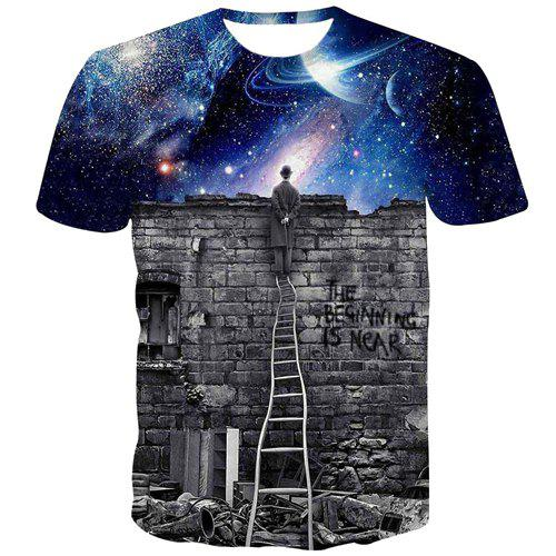 3D Looking Stars Scenery Print Slimming Round Neck Short Sleeves Men's T-Shirt