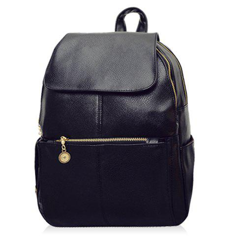Shops Vintage Style PU Leather and Black Design Women's Backpack