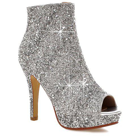 Sale Sequined Open Toe Ankle Boots