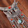 Vintage Phoenix Shape Hollow Out Coin Beads Pendant Necklace For Women - SILVER
