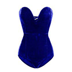 European American Autumn Winter Women Gold Velvet Sexy Tube Top Halter Onesies -