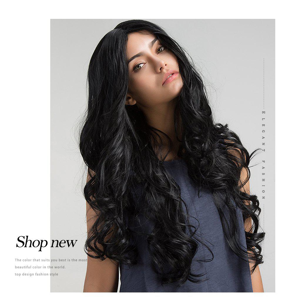 Store Orgshine Fashion Long Big Wave Synthetic Hair Wig Black Color HG204