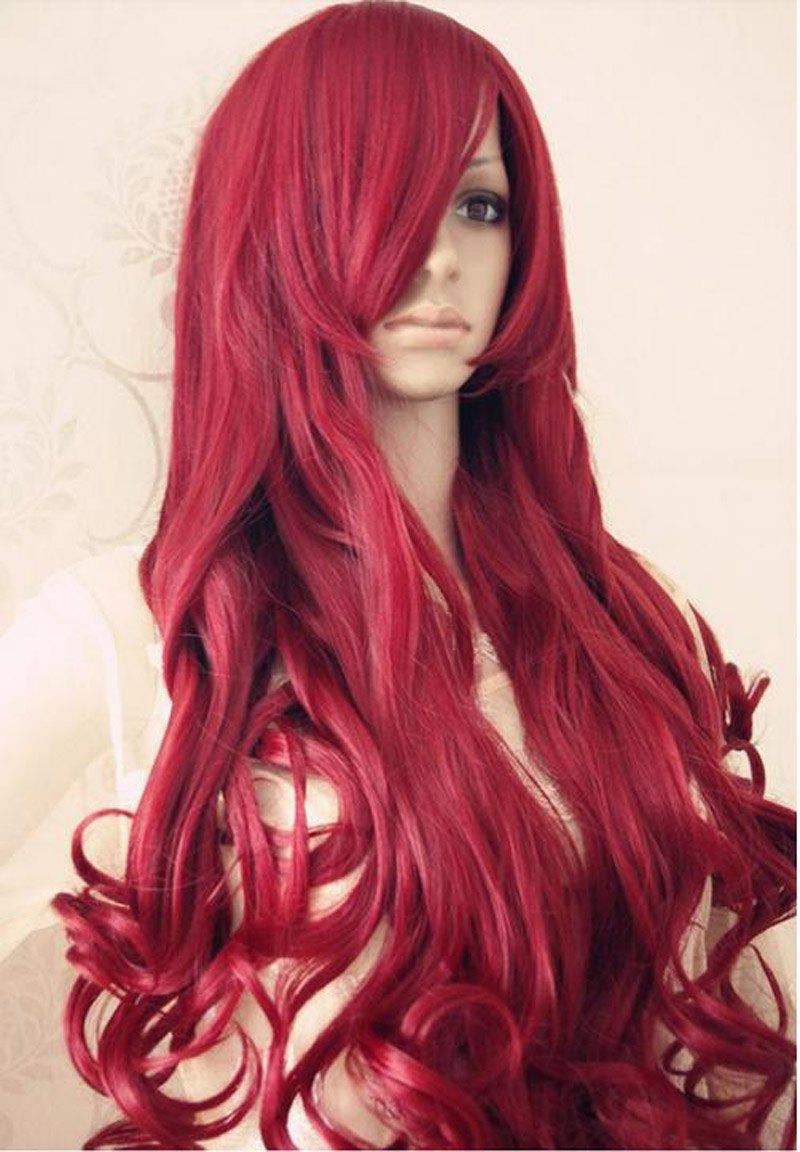 Hot brown red curly long full hair wigs