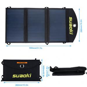 suaoki 20W Foldable Dual-Port Solar Charger -