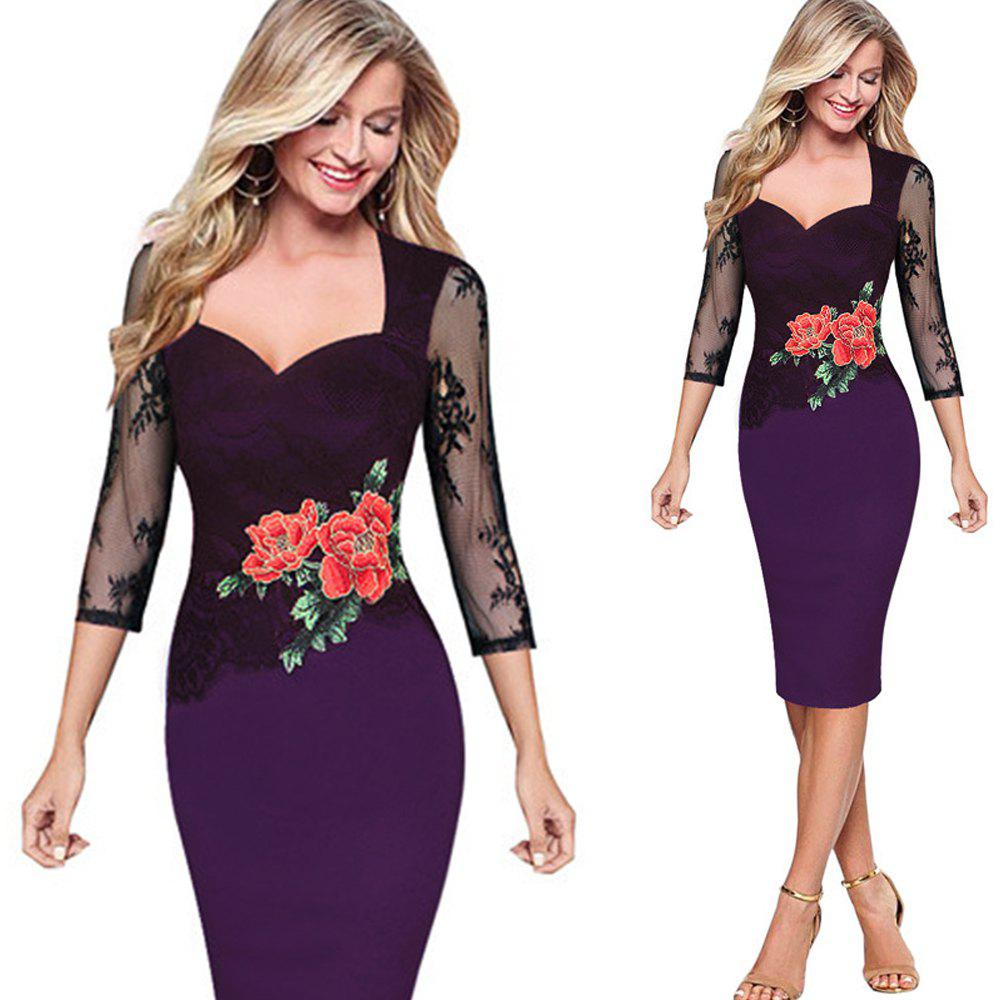 Shops Embroidered Floral Lace See Through Pencil Dress