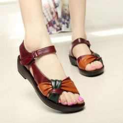 PU Comfortable Patchwork Mother Open Toe Flat Sandals Soft Sole Shoes -