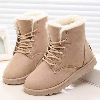 Trendy Warm Snow Boots Ankle Comfy Shoes with Fur