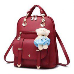 PU Leather College Backpack Fashion Leather Shoulder School Bag for Women -