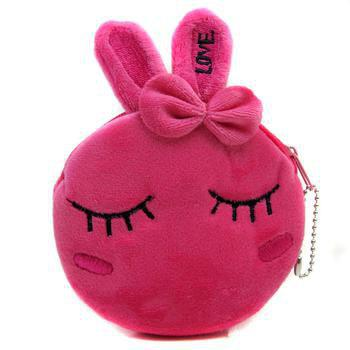 Shop Kid Rabbit Wallet Suede Zip Coin Change Clutch Bag
