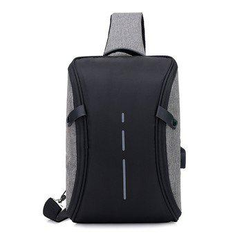 Cheap USB Charger Canvas Waterproof Backpack Business Small Singer Shoulder Bag