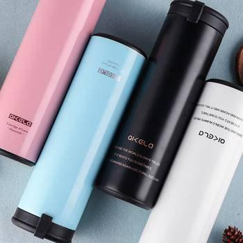 Outfits Seven Carat Stainless Steel Thermos Cup Male Straight Portable Hand Version Fashion Student Cup.