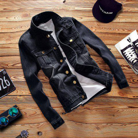Denim Coats Outwear Overcoat Hole Casual Jacket Coat for Men