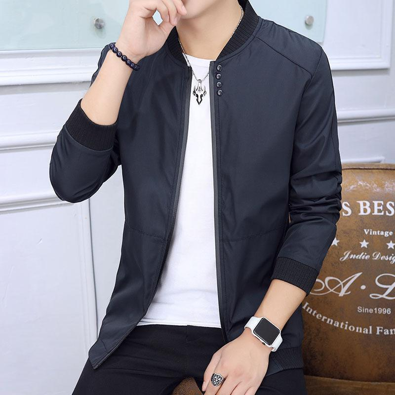 Latest Stand Collar Cotton Solid Long Sleeve Zipper Men Jacket