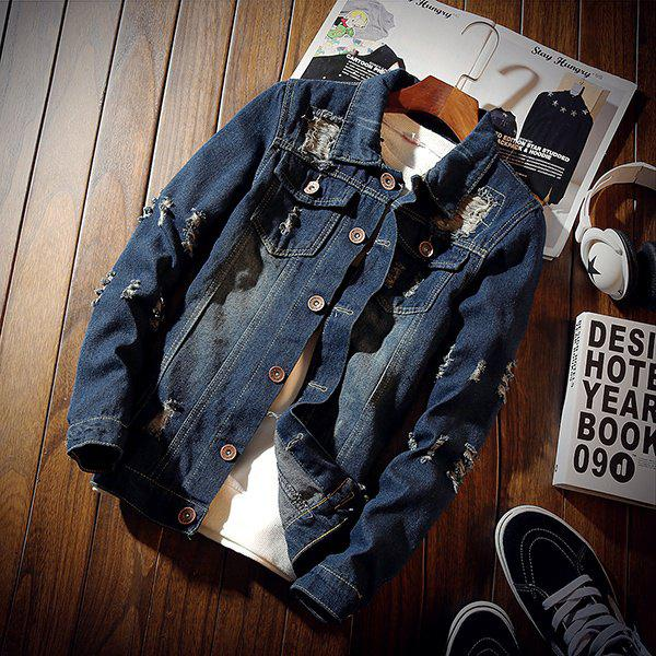 Chic Gimi Casual Turn-Down Collar Single Breasted Cotton Blends Long Sleeve Ripped Men'S Slim Denim Jackets