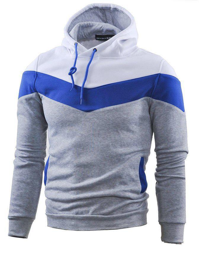 Hot Mooncolour Mens Novelty Block Hoodies Cozy Sport Outwear