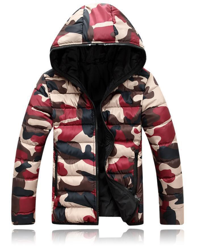 Outfits Hooded Camouflage Cotton Coat Parka Colorful Overcoat for Men