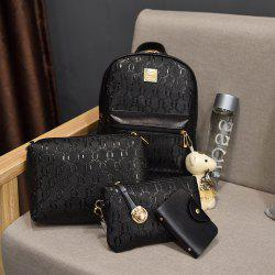 PU Leather Composite Bags Casual Handbag Shoulder Messenger Crossbody Bag Clutch Set 4 Pcs -