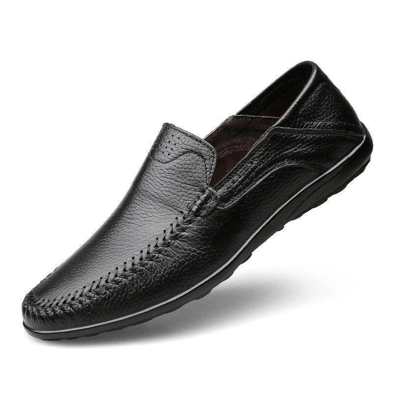Trendy Genuine Soft Flats Handmade Men'S Leather Casual Shoes