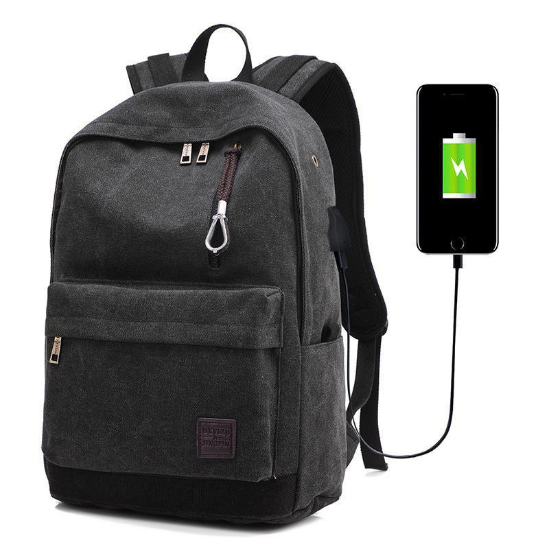 Chic Canvas Casual Backpack Rechargeable Rucksack Computer Students Bag