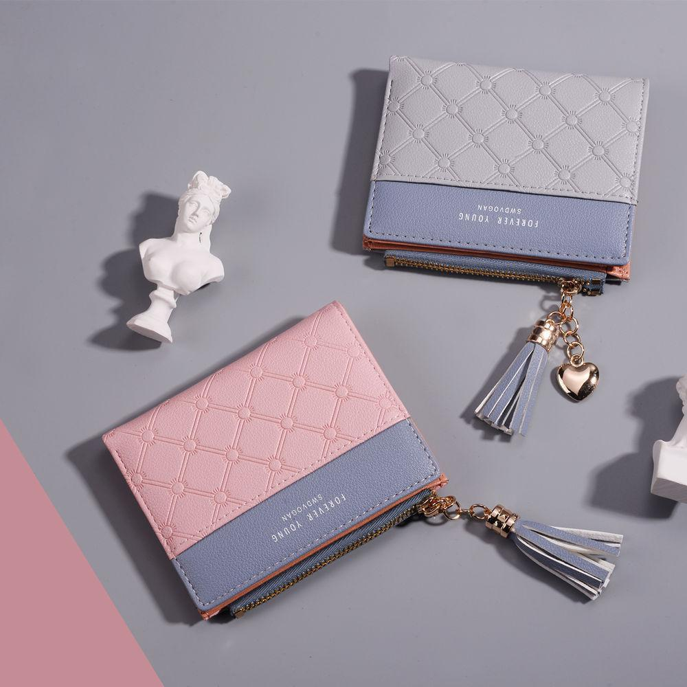 Fashion The Ms Short Paragraph Wallet Stitching Hit Wallets Tassel Zipper Many Card Bit Small Change Package