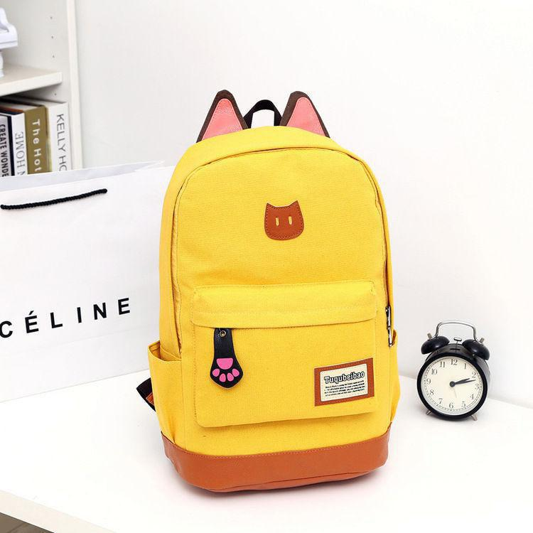 New Lovely Japanese Version Of Cat Ears Girls Shoulder Bags Backpack Canvas Pure High School Bag