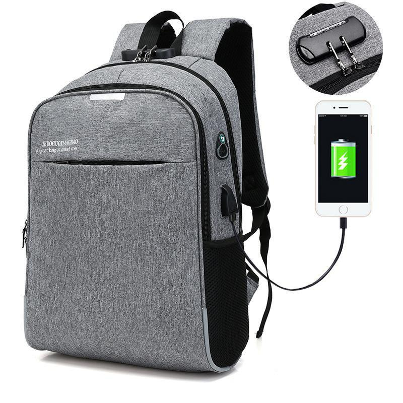 Chic USB Charging Computer Backpack Travel Student Bag  Oxford Satchel