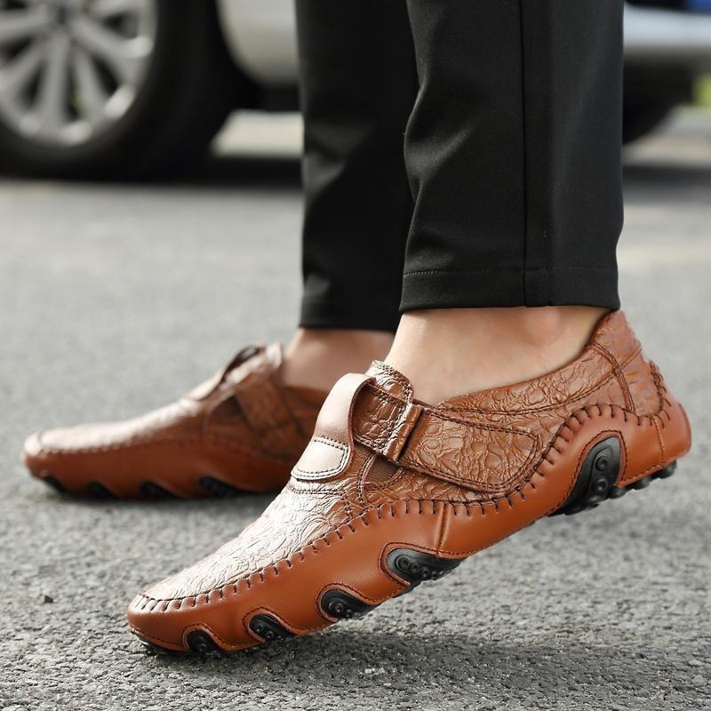 Trendy Luxury Genuine Leather Flats Mens Loafers Casual Slip On Driving Shoes