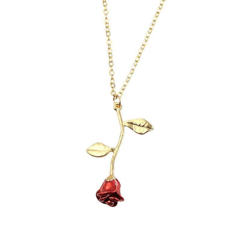 2019 Jewelry Exquisite Red Rose Pendant Necklace Girlfriend