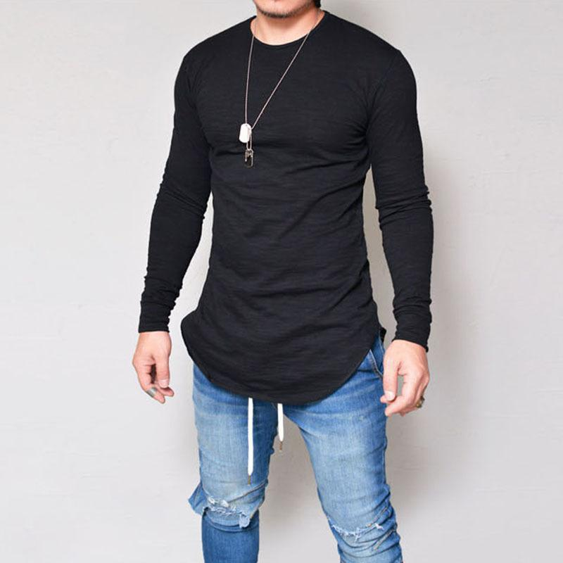 Online Male Slim Fit Neck Long Sleeve T-shirt