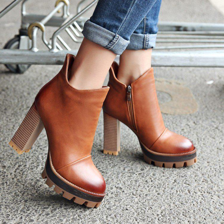Shops Leather Platform Ankle Sexy Warm Zipper Chunky High Heel Boots