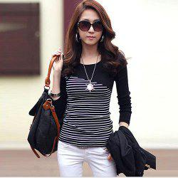 Striped T-shirt Long Sleeve Tops Tight Body Clothing T-Shirt -