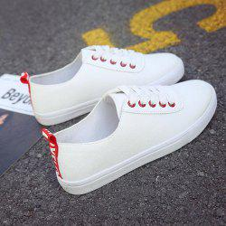 White PU Rubber Leisure Plate Shoes Comfy Lace-up Sneakers -