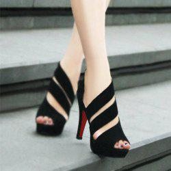 Hollowed Out High Heel Suede Rubber Toes Pumps Sandals for Women -