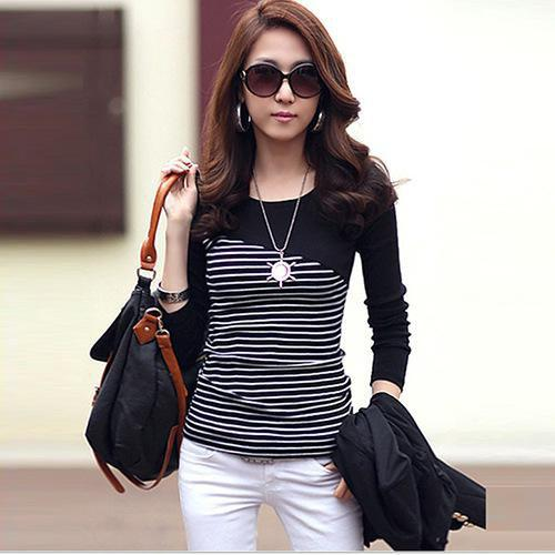 Store Striped T-shirt Long Sleeve Tops Tight Body Clothing T-Shirt