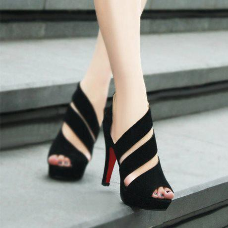 Discount Hollowed Out High Heel Suede Rubber Toes Pumps Sandals for Women
