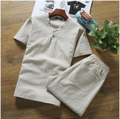 Unique Summer Wear Men's Fashion Short Sleeved Cotton Shirts with Pants