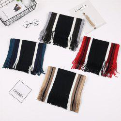 Autumn And Winter Korean Version Of Striped Wool Men's Scarf New Thickening Warm Tide Boys Collar -