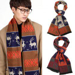 European And American Men's Scarf Autumn And Winter Bib Classic Christmas Deer Thick Warm Scarf -