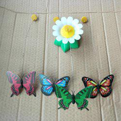 Rotating Funny Cat Butterfly Stick Electric Flying Butterfly Round Flower Cat Pet Toy -