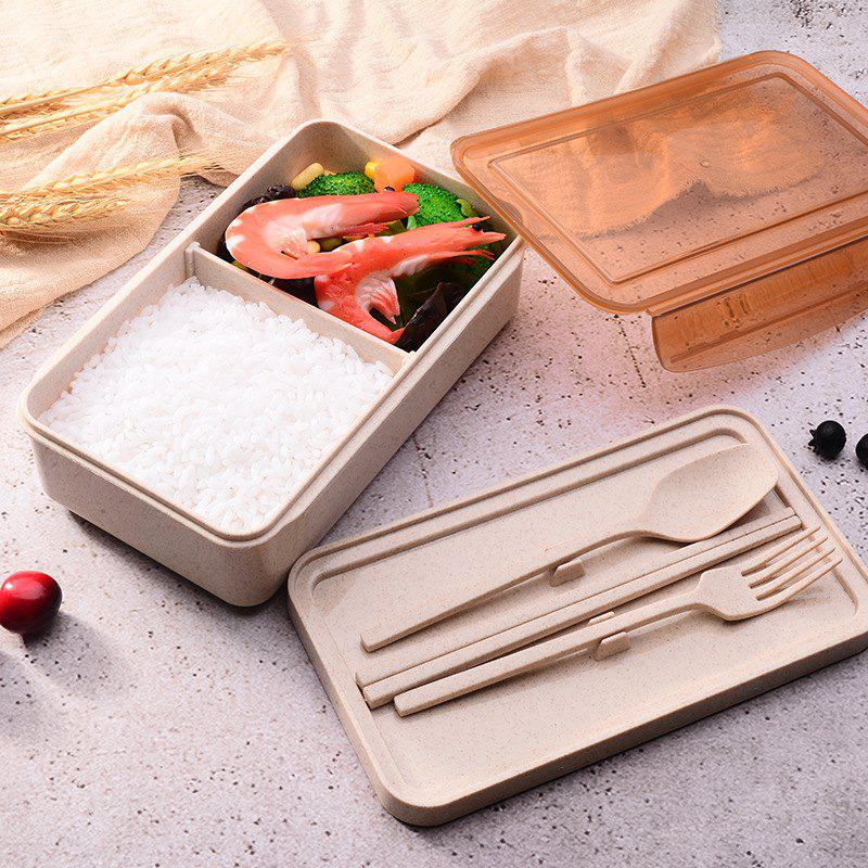 Chic Wheat Straw Tableware Student Portable Compartment Lunch Box Lunch Box Insulation Lunch Box Creative Gift