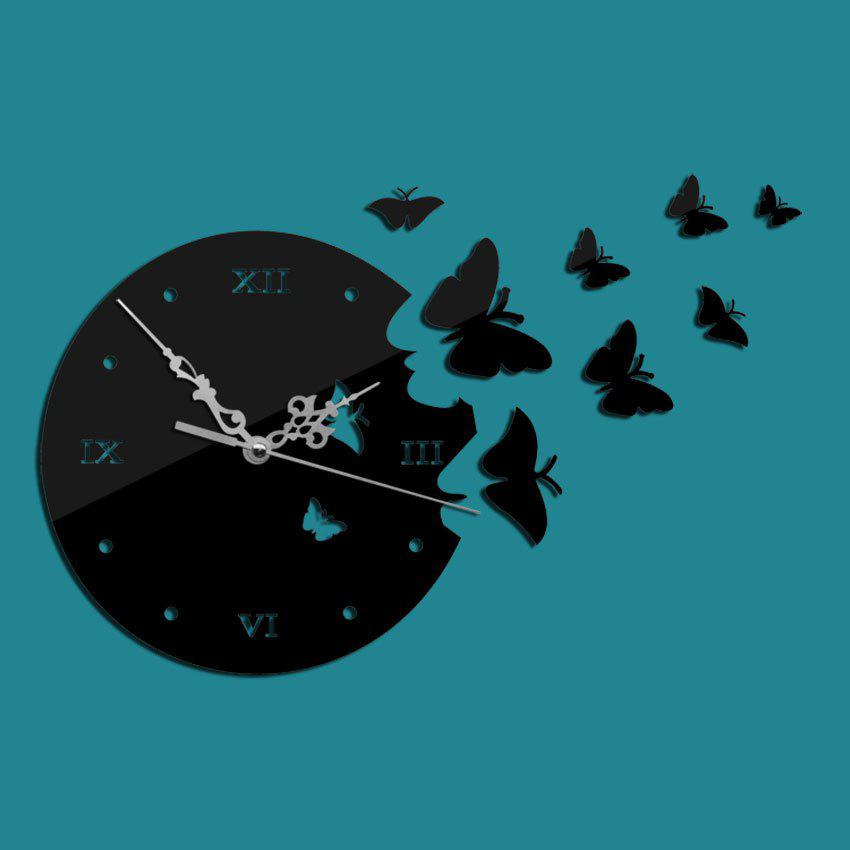 Outfit Hot 3D Acrylic Stereo Wall Clock Decoration Fashion Mirror Wall Sticker Elegant Butterfly Mirror Clock CY076Z