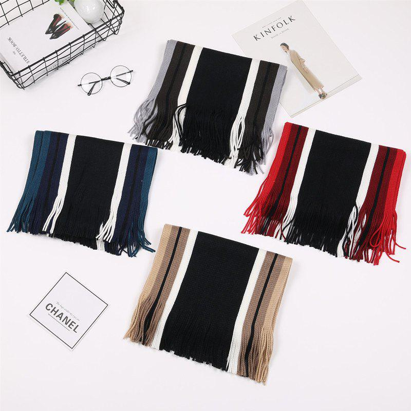Chic Autumn And Winter Korean Version Of Striped Wool Men's Scarf New Thickening Warm Tide Boys Collar