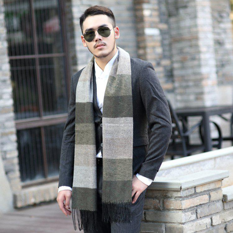 Sale Autumn And Winter New Men's Thick Scarf Long Paragraph Cold Warm Horizontal Strips Tassel Cashmere Men's Scarf