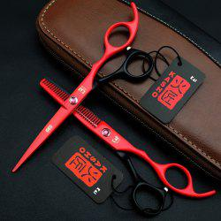 6.0 Inch Color Hairdressing Scissors Black Red Haircut Scissors Flat Shears Scissors Thin Shears -