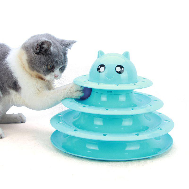 Buy Cat Toy Cat Turntable Ball Three-layer Cat Tower Funny Cat Stick Toy Cat Scratch Board Pet Claws Cat Supplies
