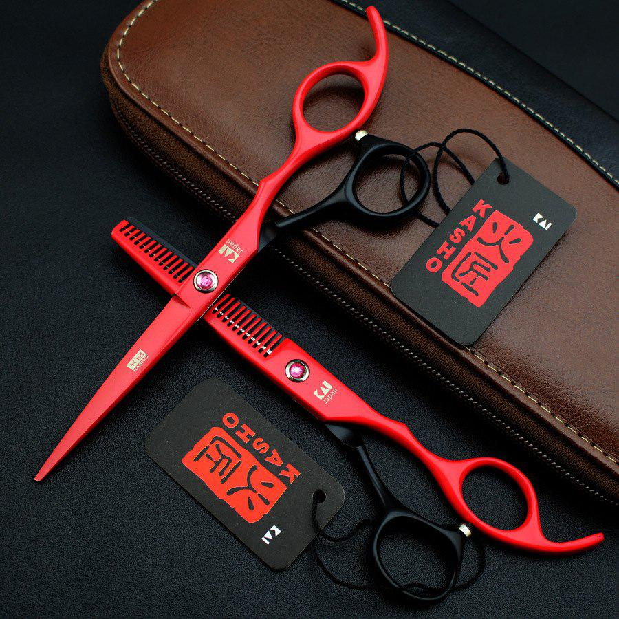 Affordable 6.0 Inch Color Hairdressing Scissors Black Red Haircut Scissors Flat Shears Scissors Thin Shears