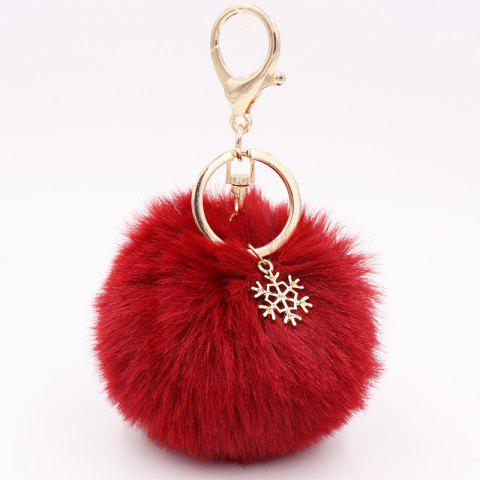 New Christmas Snowflake Plush Keychain Alloy Snowflake Christmas Hair Ball Pendant Bag Keychain - WATERMELON RED - SNOWBALL BALL (GOLDEN 8-BUTTON)